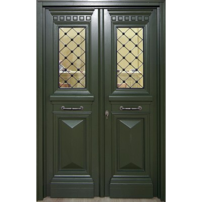 Ξύλινη Πόρτα Οικίας Παραδοσιακή Δίφυλλη Εξωτερική Windo68
